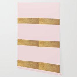 Color Blocked Gold & Rose Wallpaper