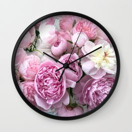 Shabby Chic Pastel Lavender Pink Peonies Wall Clock