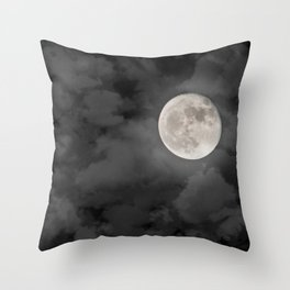 Cloudy Moonlit Night Throw Pillow