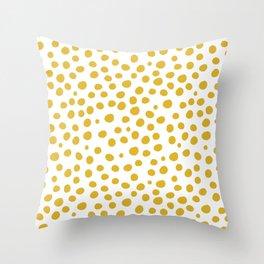 Mustard Yellow Dots Throw Pillow