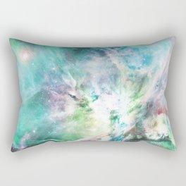 Abstract teal pink cosmic nebula space galaxy Rectangular Pillow