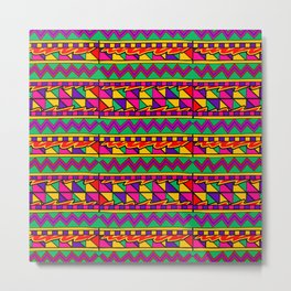 Latin American Pattern. Zigzag Squares Triangle Patterns. Colourful Pattern. Latin America. Funky Metal Print