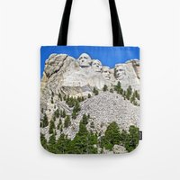 rushmore Tote Bags featuring Mount Rushmore by astultz23