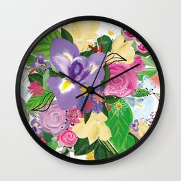 Spring Time Bouquet Colorful Artistic Flower Pattern Wall Clock
