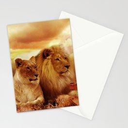 Lion couple   Couple de Lion Stationery Cards
