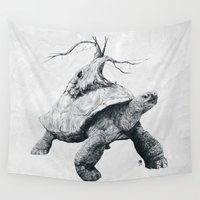 tortoise Wall Tapestries featuring Tortoise Tree by Adam Dunt