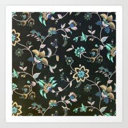 Classic vintage teal pink green bohemian floral Art Print
