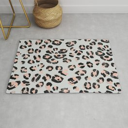 Jungle Leopard Print Pale Rosette & Ultimate Gray _Oil Painting Pattern Rug