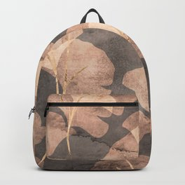 Gingko Leaves Rose Gold Brown Backpack