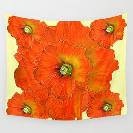 ORANGE DOUBLE  HOLLYHOCK FLOWERS YELLOW GARDEN Wall Tapestry