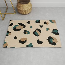 Leopard Print and Teal- Light Tan Rug