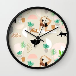 Mid Century Modern Yoga pattern with cats and plants Wall Clock