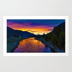 Sundown At Yellowstone Art Print