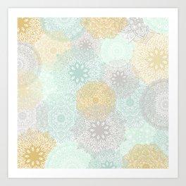 Floral Mandala Blooms Fall, Yellow, Aqua,Gray Art Print