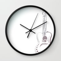 guitar Wall Clocks featuring guitar by brittanyhelms