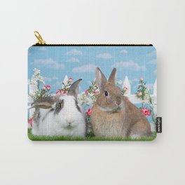 Bunny Love two rabbits in a flower garden Carry-All Pouch