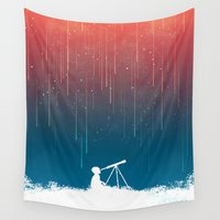 astronomy Wall Tapestries featuring Meteor Rain (light version) by Picomodi