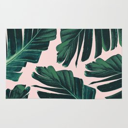 Tropical Blush Banana Leaves Dream #1 #decor #art #society6 Rug