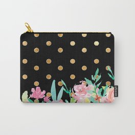 Polka dot gold flower pattern Carry-All Pouch