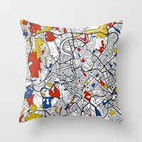 jenny liz rome Throw Pillows featuring Rome by Mondrian Maps