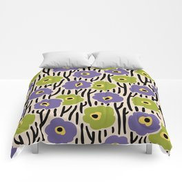 Mid Century Modern Wild Flowers Pattern Purple and Green Comforters