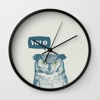 yolo Wall Clocks featuring YOLO by Balazs Solti