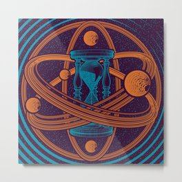 Time Infinity Planet System With Cosmos Sandglass Metal Print