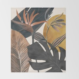 Abstract Tropical Art III Throw Blanket