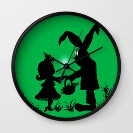 Silhouette Easter Bunny Gift Wall Clock