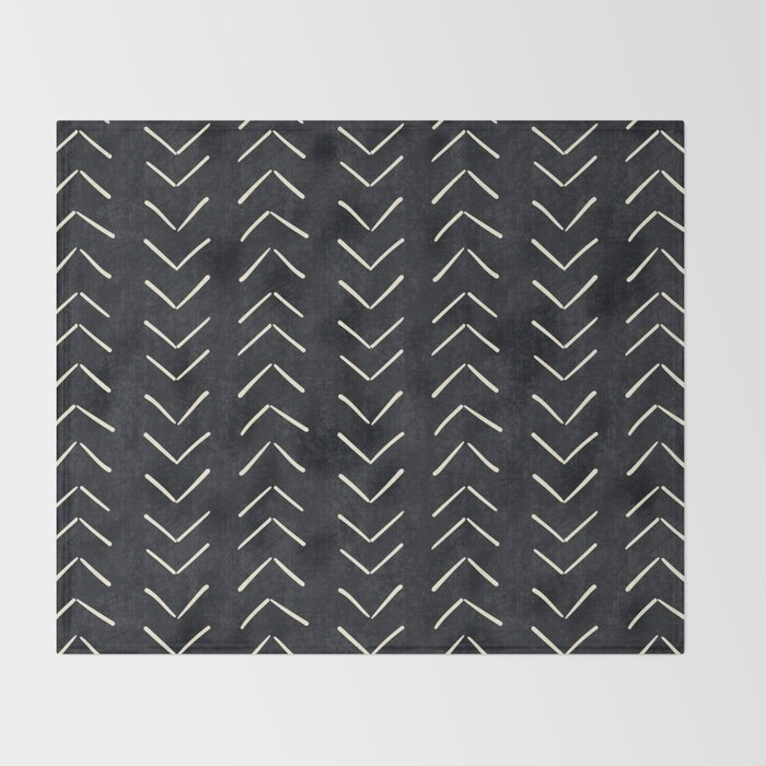 Mudcloth Big Arrows in Black and White Throw Blanket