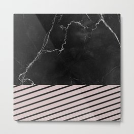 MARBLE & PALE DOGWOOD STRIPES Metal Print