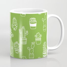 White cactus pot outlines seamless pattern on green background Coffee Mug