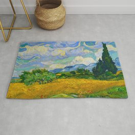 Wheat Field with Cypresses Vincent van Gogh Oil on canvas 1889 Rug