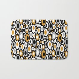Mid Century Modern Ovals - Small Print in Black, White, Gold, Silver Bath Mat