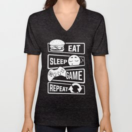 Eat Sleep Game Repeat | Video Game Console Gaming Unisex V-Neck