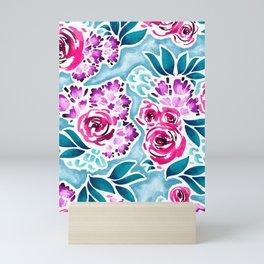 Jewel tone florals Mini Art Print