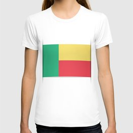 Flag of Benin. The slit in the paper with shadows. T-shirt