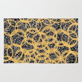 Abstract Beehive Yellow & Black Pattern Rug
