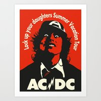 acdc Art Prints featuring Ac/Dc angus young by aceofspades81