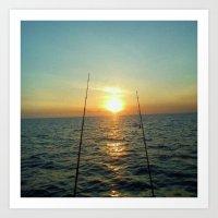 fishing Art Prints featuring FISHING by aztosaha