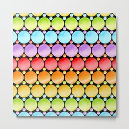 Rainbow Dotty Stripes Metal Print