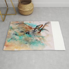 Abstract Deer Watercolor Rug