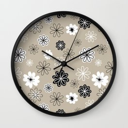 Black and White Flowers Greige Wall Clock