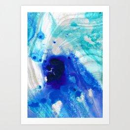 Modern Abstract Art - Blue Marble by Sharon Cummings Art Print