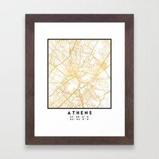 ATHENS GREECE CITY STREET MAP ART Framed Art Print