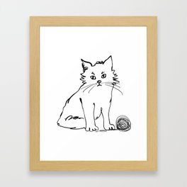 Katzen 012 / Cute Kitten Minimal Line Drawing Framed Art Print