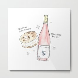 Ice Cream Sandwich + Rosé Metal Print