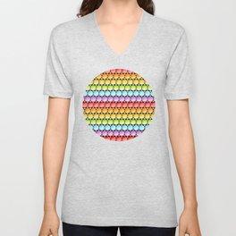 Rainbow Dotty Stripes Unisex V-Neck