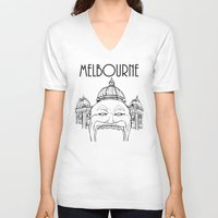 melbourne V-neck T-shirts featuring Melbourne by Jeremy Buckley illustration
