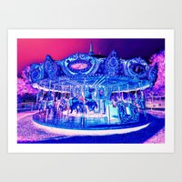 carousel Art Prints featuring Carousel Merry-G0-Round Pink Purple by WhimsyRomance&Fun